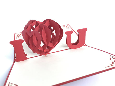 i love you 3d red heart valentine popup card