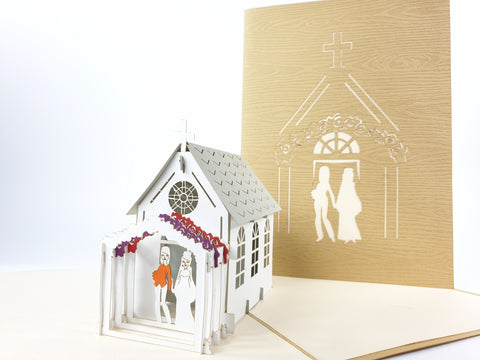 Church Lesbian Wedding Pop Up Card
