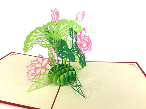 lotus flower 3d pop up card