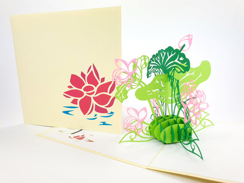 Color Lotus Flower Pop Up Card