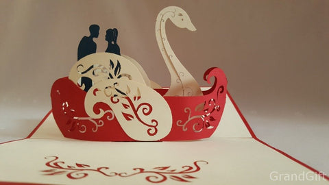 love couple on a swan boat 3d pop up card