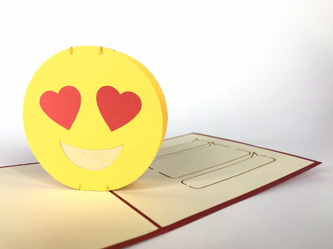 love emoji hearts on eyes 3d pop up card