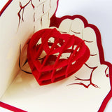 heart in hands 3d pop up love card