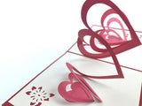 love hearts spiral 3d pop up card