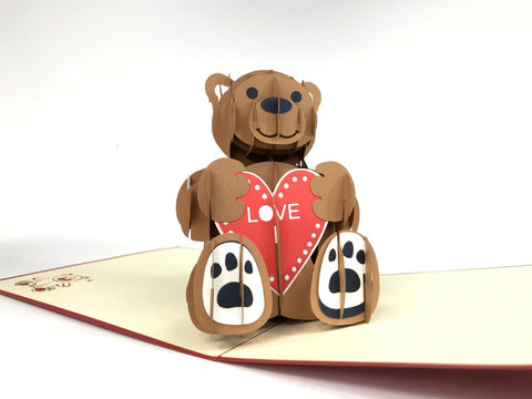 teddy bear with a heart 3d pop up love card
