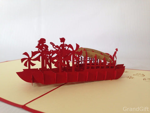 lovers on the red boat couple 3d popup love gift card