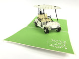 white golf cart 3d popup sport vehicle gift card