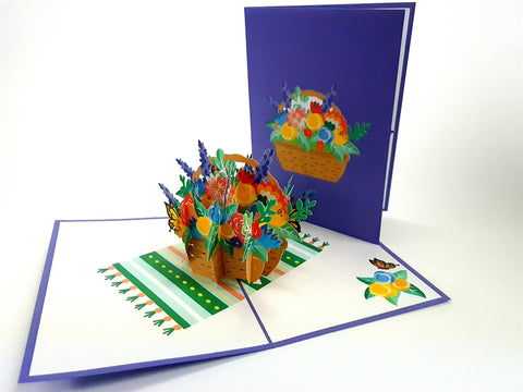 Mix Flower Basket Pop Up Card 3d