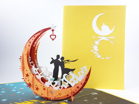 Couple On The Moon Pop Up Card