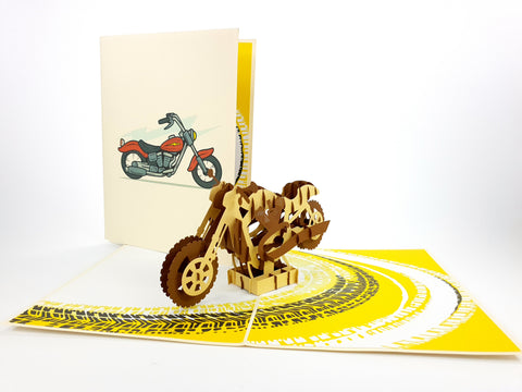 Motorbike Brown Pop Up Card