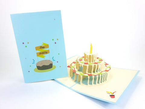 Color One Candle Cake Pop Up Card