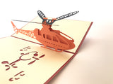colorful little flying helicopter 3d popup birthday card