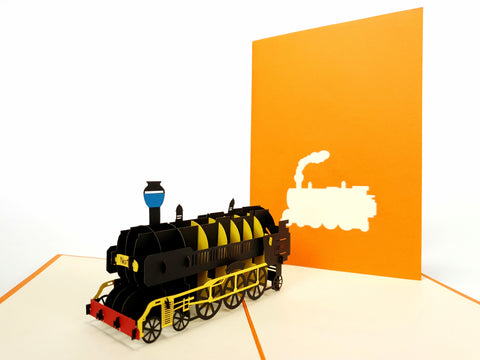 Orange Train Pop Up Card
