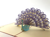 colorful peacock 3d popup animal gift card