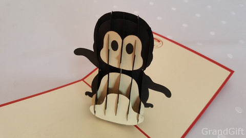 little penguin 3d pop up animals card