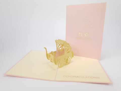 Baby Girl Congratulation Pop Up Card
