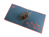 pirate ship on the sea popup card