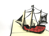 black pirate ship 3d pop up card