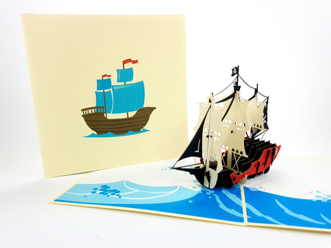 Color Pirate Boat Pop Up Card
