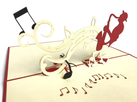 man playing on the saxophone 3d popup music gift card