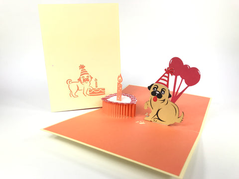 Birthday Pug Pop Up Card