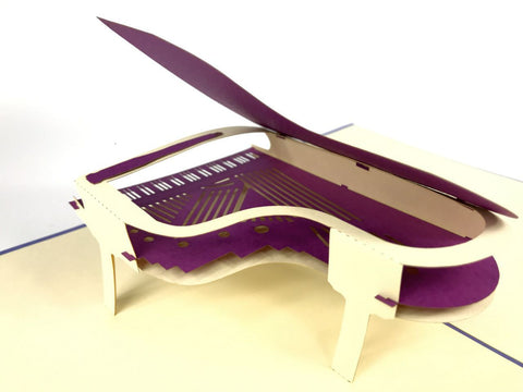 purple piano music instrument 3d pop up card