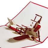 red airplane 3d pop up plane card