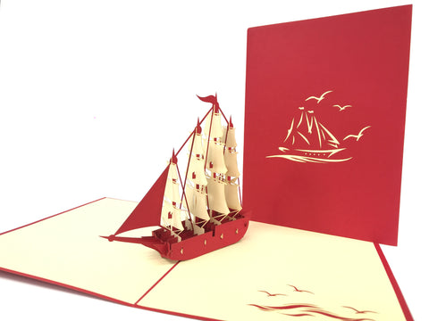 Big Red Sailing Ship Pop Up Card