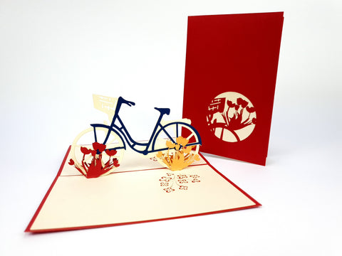 Red Bicycle With Tulips Pop Up Card