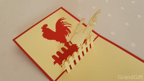 rooster on a fence 3d pop up animal card