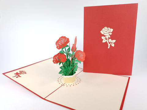 Rose Vase Flowers Pop Up Card