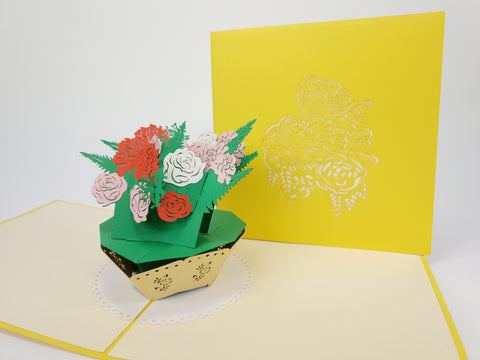 Blooming Rose Flowers Pop Up Card
