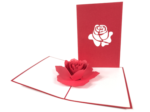 Red Rose Flower Pop Up Card