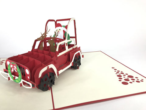 santa claus inside a christmas car 3d pop up card