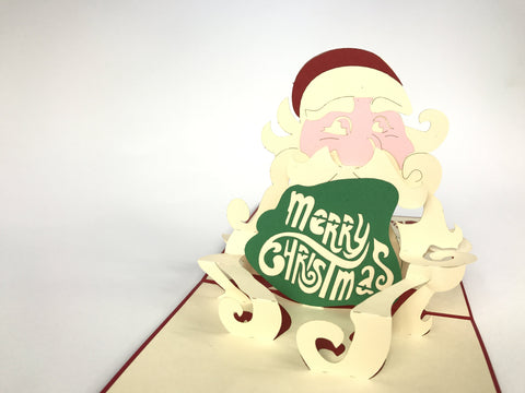 santa claus smiling face 3d pop up merry christmas card