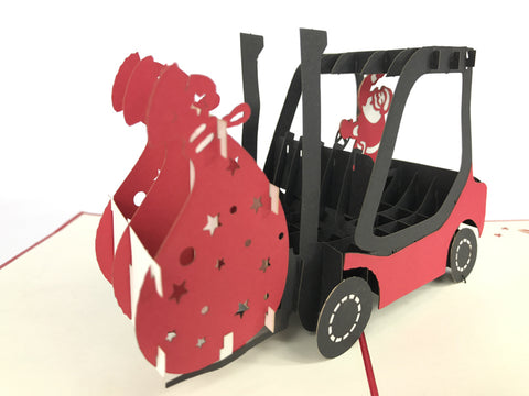 santa claus inside red forklift christmas popup card