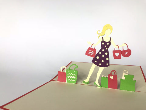 woman on a shopping 3d pop up card