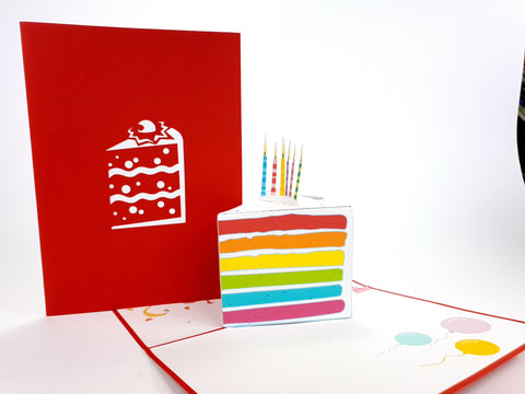 Sliced Birthday Cake Red Pop Up Card