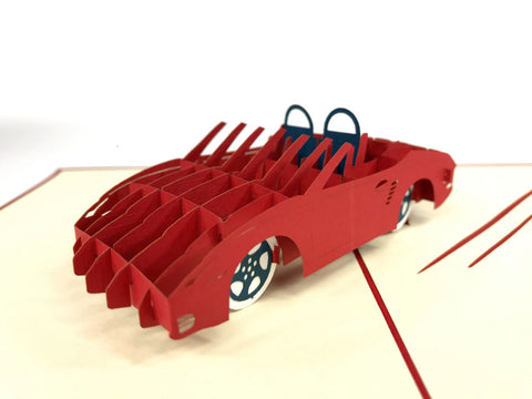 red sport fast car 3d pop up card