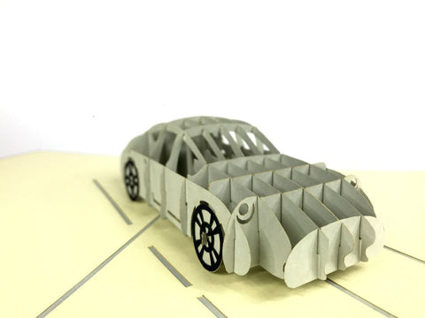 silver sport car 3d pop up card