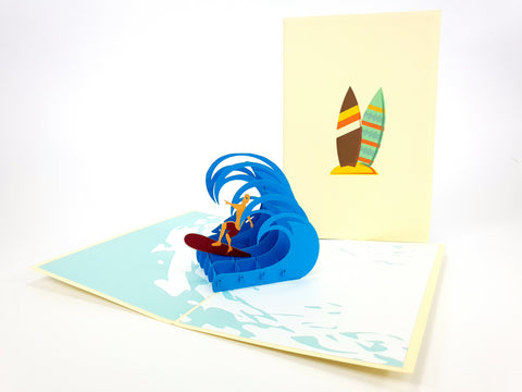 Color Surfer On Wave Pop Up Card