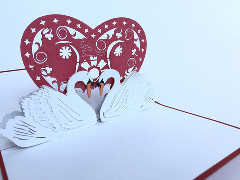two white swans kissing each other 3d popup love card