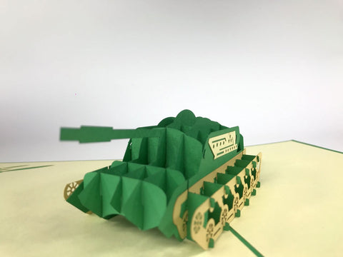 green tank army 3d popup military card