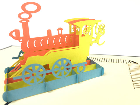 colorful train 3d pop up vehicle card