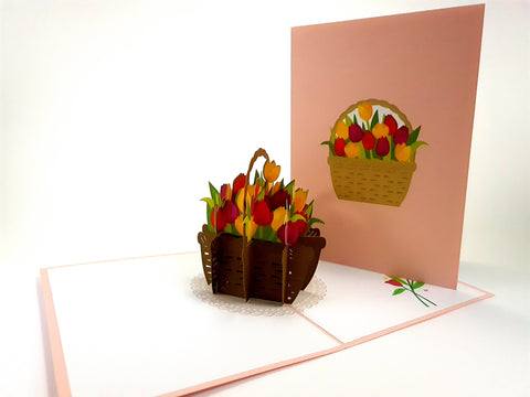 Tulip Busket Pop Up Card 3d
