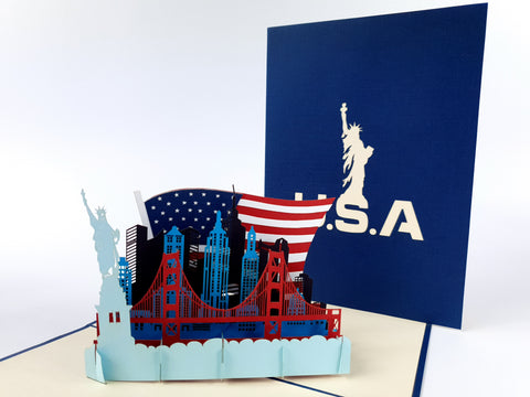 USA Skyline Pop Up Card