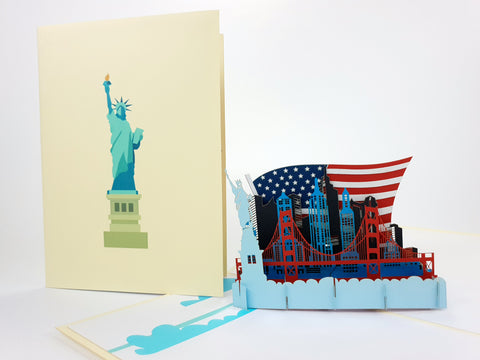 Color USA Skyline Pop Up Card