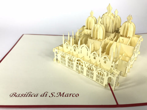 venice basilica 3d pop up monument card
