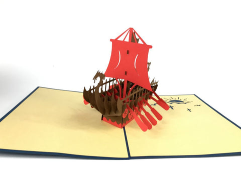 viking boat 3d pop up sailor card