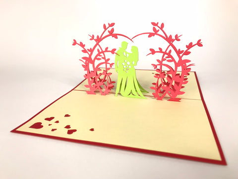 wedding couple under red floral arch 3d pop up wedding invitation card